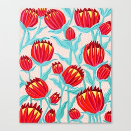 Bold Protea Flower Pattern - Red Yellow Green Canvas Print