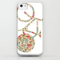 Whimsical cute girly floral retro bicycle Slim Case iPhone 5c