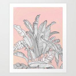 Banana Leaves Illustration - Pink Art Print