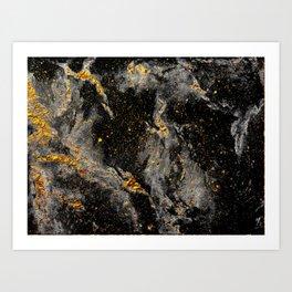 Galaxy (black gold) Art Print
