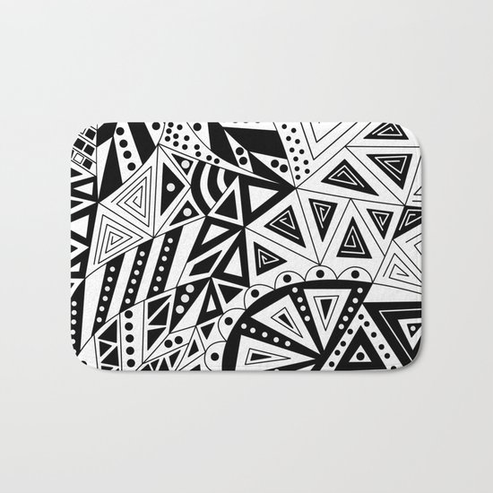 Black and white abstract pattern. Bath Mat