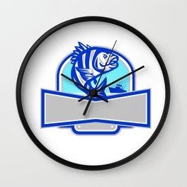 Sheepshead Fish Jumping Fishing Boat Banner Retro Wall Clock