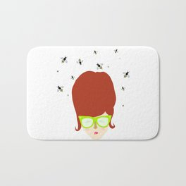 Retro lady with a beehive hairdo Bath Mat