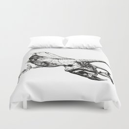 Jurassic Bloom - The Horned. Duvet Cover
