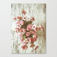 Pretty Pink Pastel Bouquet on worn wood Canvas Print