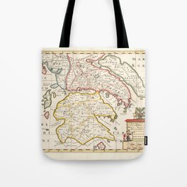 Vintage Map Print - Map of the Southern Regions of Ancient Greece (1700) Tote Bag