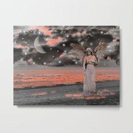 Grey Coral Pink Angel Waves Water Ocean Moon Stars Art A331 Metal Print