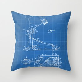 Drum Pedal Patent - Drum Set Art - Blueprint Throw Pillow