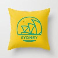 sydney Throw Pillows featuring Sydney by BMaw