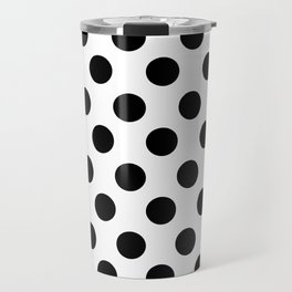 Black and White Medium Polka Dots Travel Mug