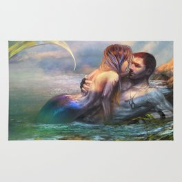 Take my breath away - Mermaid in love with soldier on the beach Rug