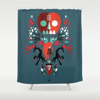 three of the possessed Shower Curtains featuring Red Girl possessed  by Patricio Oliver