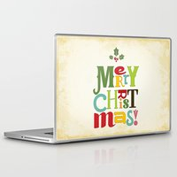 merry christmas Laptop & iPad Skins featuring Merry Christmas! by Noonday Design
