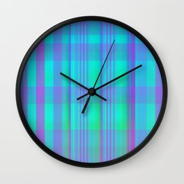 """Neon Plaid"" Wall Clock"