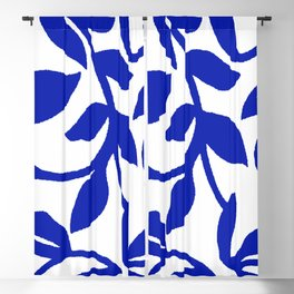 PALM LEAF VINE SWIRL BLUE AND WHITE PATTERN Blackout Curtain