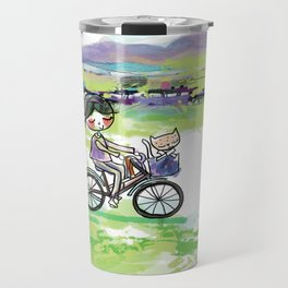 A little girl riding bicycle with her cat Travel Mug