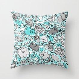 PLAYTIME_BLUE Throw Pillow