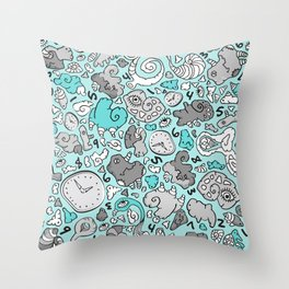 PLAYTIME_BLUE Throw Pillow