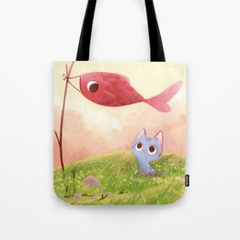 Cat and red fish Tote Bag