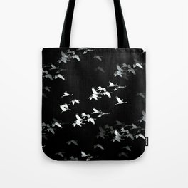 Abstract Black and White Crane Flock #decor #society6 Tote Bag