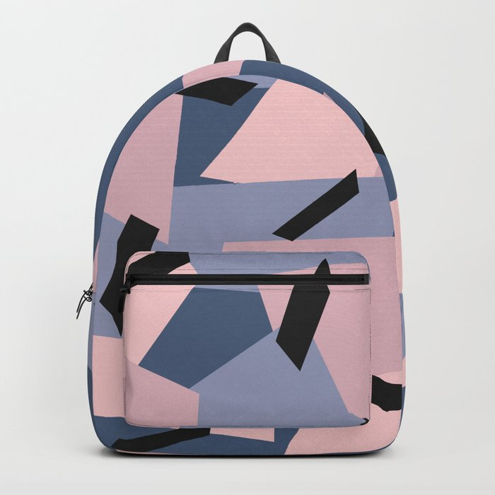Patches Abstract Pattern Black, Blue, Pink, Gray Backpack