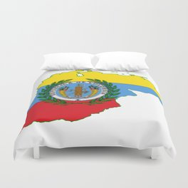 Colombia Map with Colombian Flag Duvet Cover
