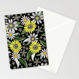 daisies on black Stationery Cards