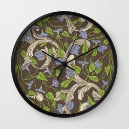 Blue morning glory with ornaments on brown background Wall Clock