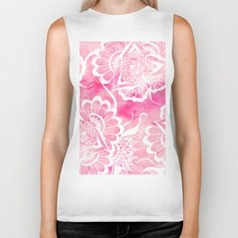 Modern boho pink watercolor white floral mandala  pattern Biker Tank