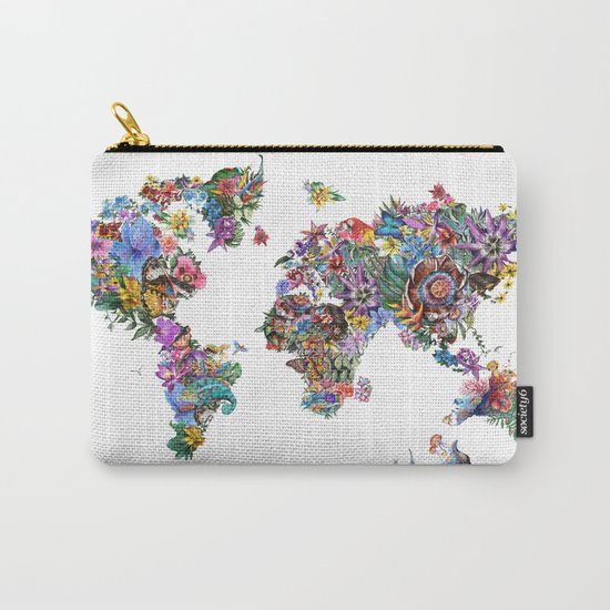 tropical floral world map Carry-All Pouch