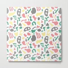 Seamless pattern with organic hand drawn rounded and stripe shapes Metal Print