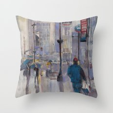 AFTER THE STORM - New York City Midtown Rain Watercolors Throw Pillow