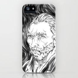 Van Gogh in black iPhone Case