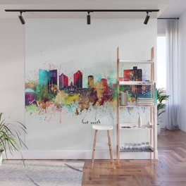fort worth skyline artistic Wall Mural