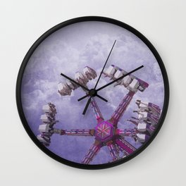 Carnival Ride in Magenta Pink and Purple Wall Clock
