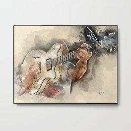 jesse hughes' electric guitar, rock music art, watercolor Metal Print