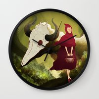 red hood Wall Clocks featuring red hood by R,oh