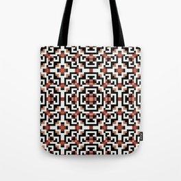 AZTEC terra cotta, black and white repeat pattern Tote Bag