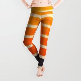 Orange & Black Geometric Pattern Leggings