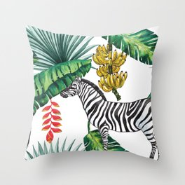 watercolor banana leaves with zebra Throw Pillow