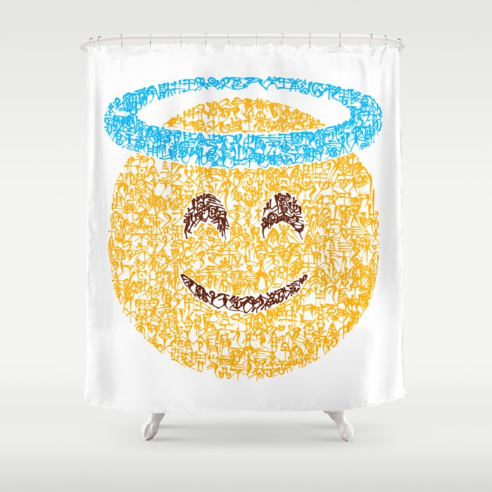 Emoji Calligraphy Art Smiling Face With The Halo Shower Curtain