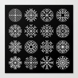 minimalist snow flakes on black Canvas Print