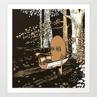 rowing Art Prints featuring Forest Rowing by Emily Joan Campbell