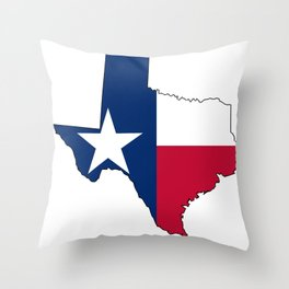 Texas Map Outline and Flag Throw Pillow