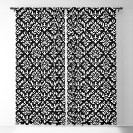 Damask Baroque Pattern White on Black Blackout Curtain