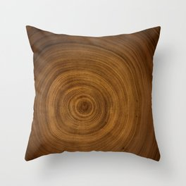 Detailed Rich Tree Ring Pattern Throw Pillow