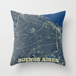 Buenos Aires Street Map Throw Pillow