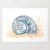 shell Art Prints featuring Shell by Pendientera