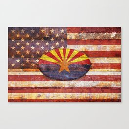 Arizona and USA flag on old wooden planks. Canvas Print