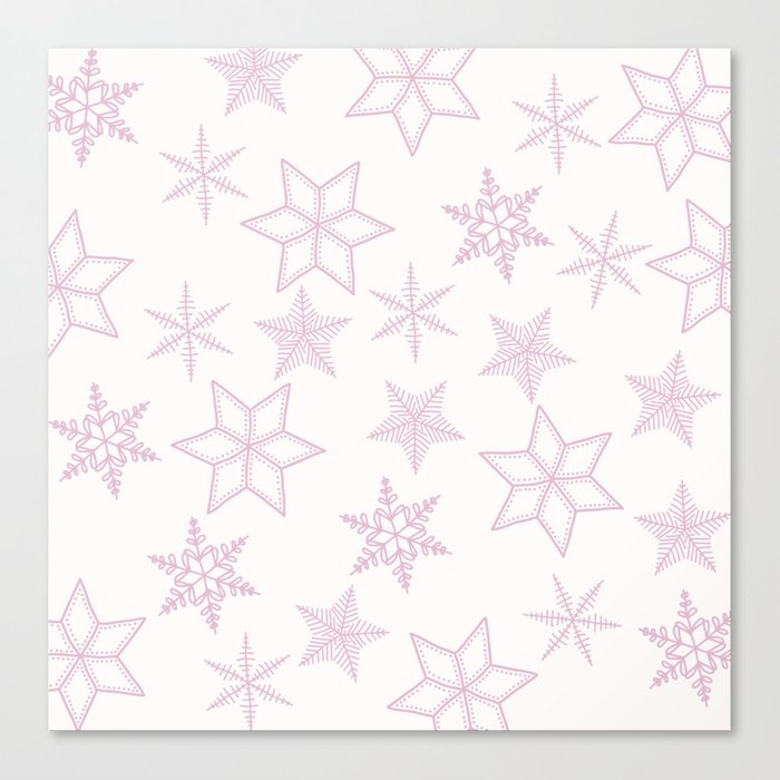 Pink Snowflakes On White Background Canvas Print